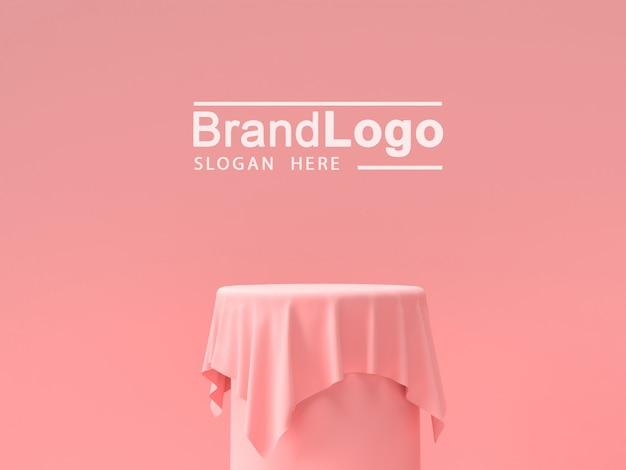 製品スタンドとピンクのテーブルクロス