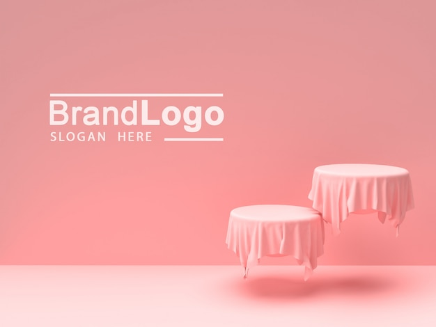 Product stand and pink tablecloth