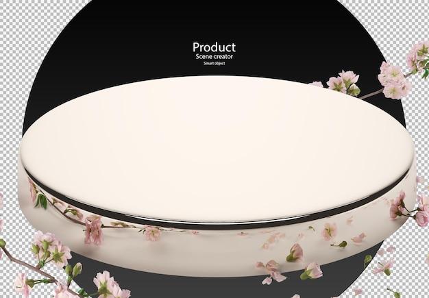 Стенд с цветами вишни в 3d-рендеринге
