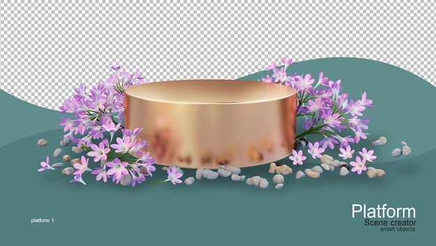 Product stand with various kinds of flowers