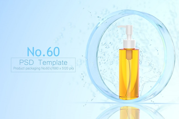 Product and water splash background template 3d render