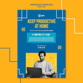 Productive at home poster template