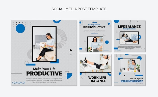 Productivity concept social media post