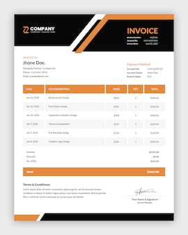 Professional abstract business invoice template