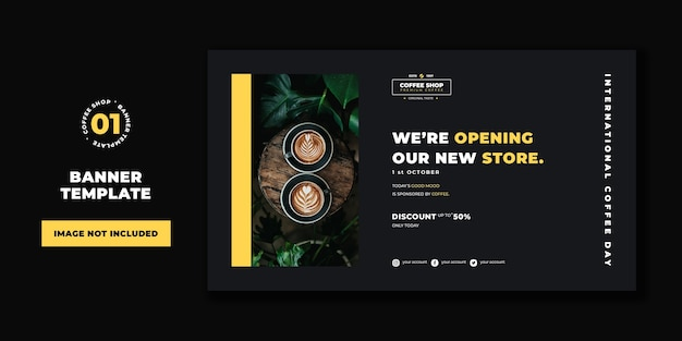 Professional banner template coffee shop concept template