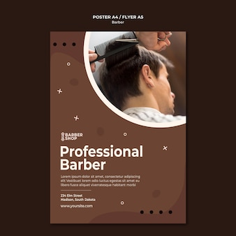 Шаблон плаката профессионального парикмахера и клиента