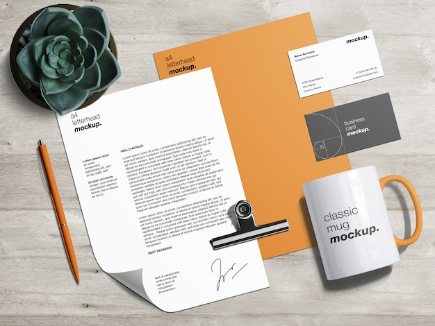 Professional branding identity mockup template with letterhead, business cards and classic mug