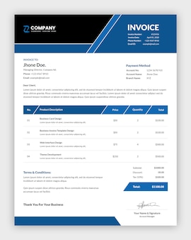 Professional business invoice template design