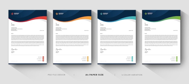 Professional business letterhead templates design with color variation