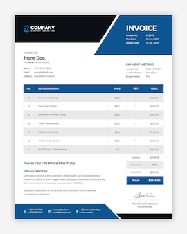 Professional corporate blue invoice template design