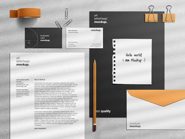 Professional corporate business identity stationery mockup and scene creator