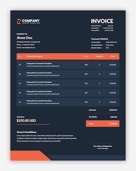 Professional creative dark business invoice template
