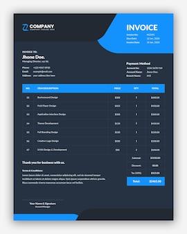 Professional dark business invoice template