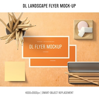 Professional dl landscape flyer mockup