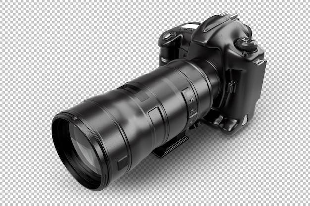 望遠レンズ付きのプロフェッショナルデジタル一眼レフカメラ。孤立。 3dレンダリング