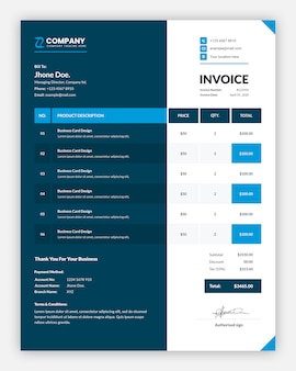 Professional dual color business invoice template