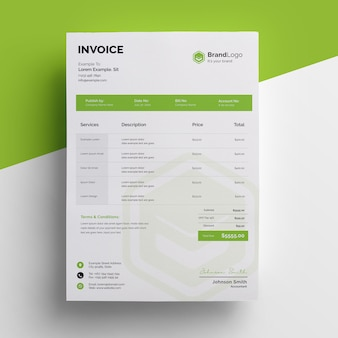Professional green invoice template