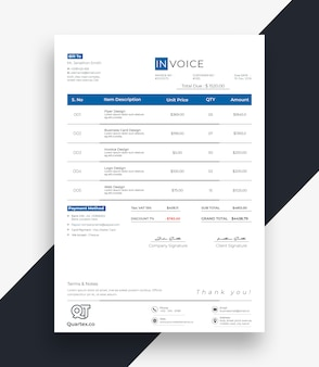 Professional invoice bill template