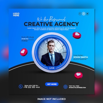 Professional marketing agency and corporate social media post template