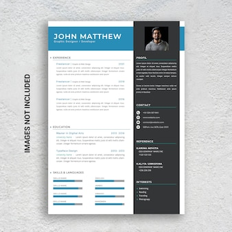 Professional minimalist cv resume template, blue and black