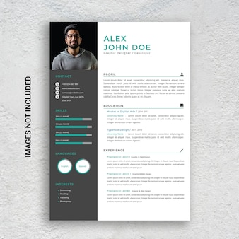 Professional minimalist cv resume template, green and black