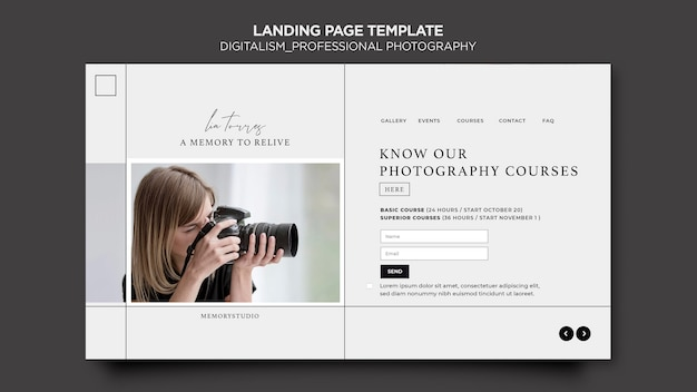 Professional photography landing page