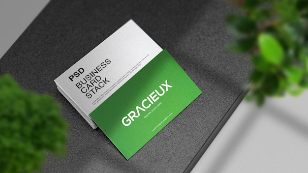 Professional realistic modern and clean business card stack mockup