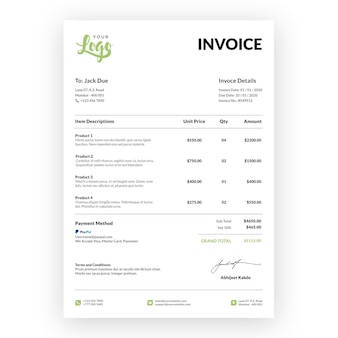 Professional restaurant invoice with mock-up