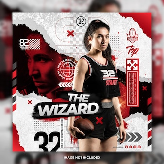 Professional rugby women player flyer social media post template