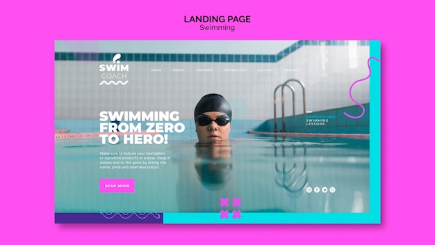 Professional swimmer landing page