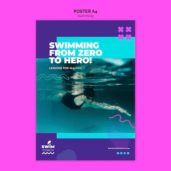 Professional swimmer poster template