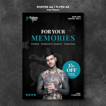 Professional tattoo studio flyer template