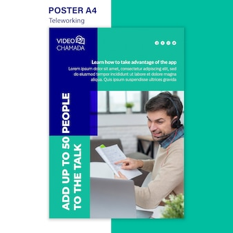 Professional teleworking poster template