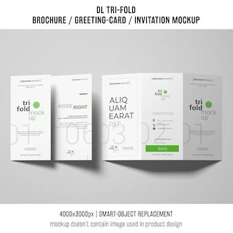 Professional trifold brochure or invitation mockup