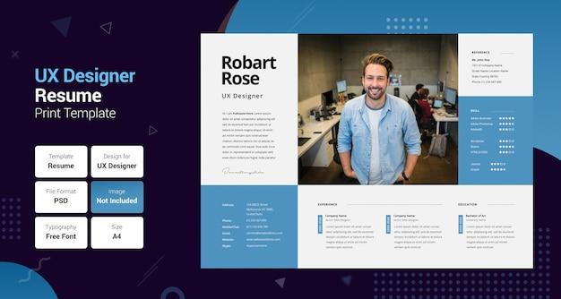 Professional uxer blue & black resume template