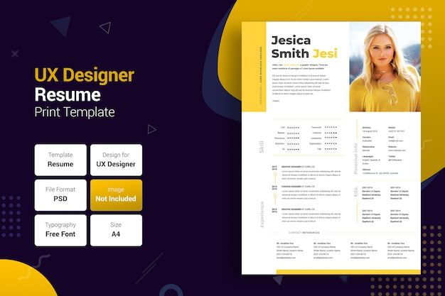 Professional uxer yellow & black resume template