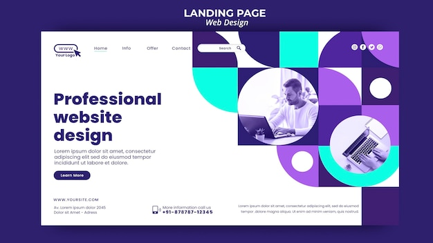 Professional website design landing page template