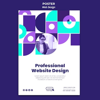 Professional website design poster template
