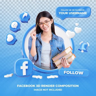 Profile on facebook 3d rendering isolated