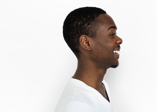Profile of a happy african man