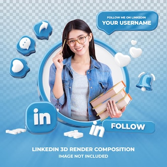 Profile on linkedin 3d rendering isolated