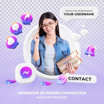 Profile on messenger 3d rendering isolated