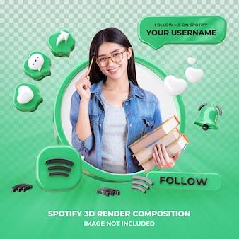 Spotify 3d 렌더링 절연 프로필