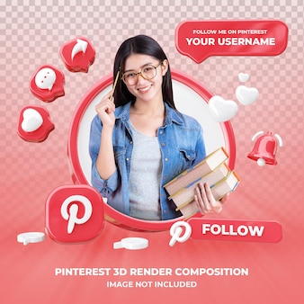 Profile on pinterest 3d rendering isolated