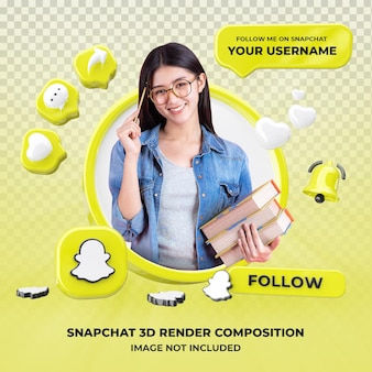 Profile on snapchat 3d rendering isolated
