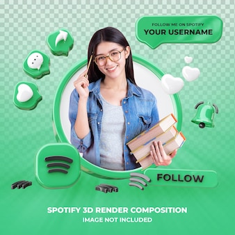 Profile on spotify 3d rendering isolated