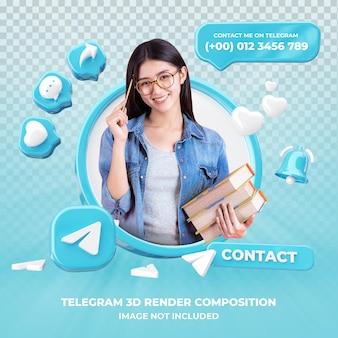 Profile on telegram 3d rendering isolated