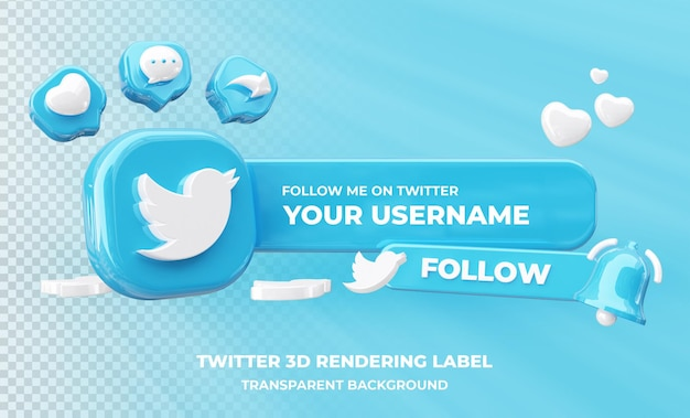 Profile on twitter 3d rendering isolated