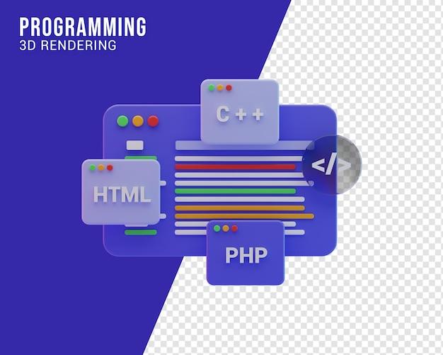 프로그래머 워크플로 그림 개념, 3d 렌더링