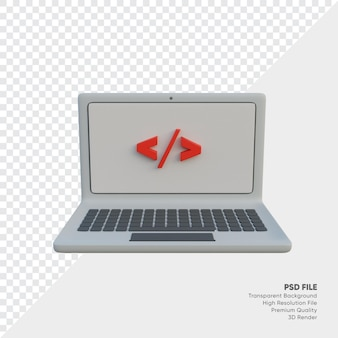 Programming in laptop 3d illustration